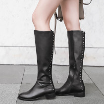 Fashion women's shoes in winter 2019 zipper round toe knee high boots black leather rivet office lady sexy elegant ladies boots concise mature