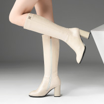 Fashion  office lady sexy elegant ladies boots concise mature women's shoes in winter 2019 zipper chunky heels round toe knee high boots beige