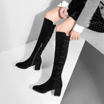 Fashion chunky heels knee high boots women's shoes sling back in winter 2019 office lady sexy elegant ladies boots concise mature zipper pointed toe