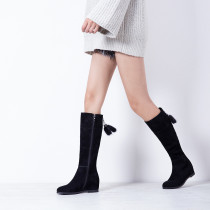 Fashion pure color warm velvet lining women's shoes in winter 2019 zipper pointed toe knee high boots office lady sexy elegant ladies boots concise mature