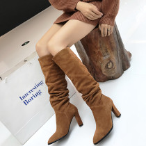 Fashion brown knee high boots sexy elegant ladies boots concise maturewomen's shoes in winter 2019 slip-on chunky heels pointed toe