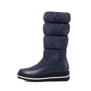 Fashion big size blue women's shoes  winter 2019 round toe knee high boots warm slip-on down cloth comfortable snow boots