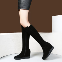 Fashion inner increase elegant ladies boots concise mature office lady women's shoes in winter 2019 zipper round toe knee high boots