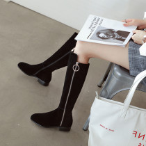 Fashion European and American women's shoes in winter 2019 zipper pointed toe knee high boots sexy elegant ladies boots concise mature office lady