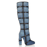 Fashion gladiator women's shoes in winter 2019 pointed toe chunky heels knee high boots blue denim jeans ladies boots mature big size shoes