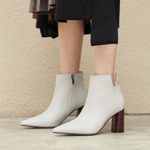 Fashion women's shoes in winter 2019 chunky heels pointed toe short boots zipper sexy  beige elegant ladies boots concise mature office lady