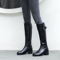 Fashion elegant ladies boots concise mature black leather women's shoes pointed toe chunky heels zipper knee high boots big size