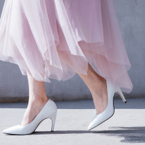Summer black white sexy elegant   pure color wedding shoes 2019 fashion trend women's shoes pumps stilettos heels pointed toe slip-on concise mature office lady