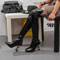 Fashion pure color women's shoes in winter 2019 pointed toe big size  zipper chunky heels over the knee high boots sexy elegant ladies boots concise mature office lady