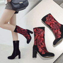Fashion women's shoes in winter 2019 round toe chunky heels zipper elegant ladies boots concise flower mature office lady
