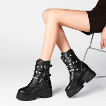 Fashion pure color women's shoes in winter 2019 round toe ladies boots concise mature zipper classics buckle black leather