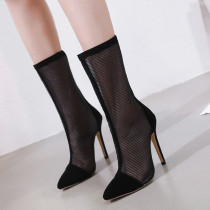 Summer 2019 fashion women's shoes zipper pointed toe women's boots mesh stilettos boots sexy black elegant party shoes size 40