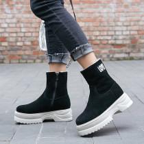 Fashion women's shoes in winter 2019 round toe zipper sexy elegant ladies boots concise mature black matte zipper pure color