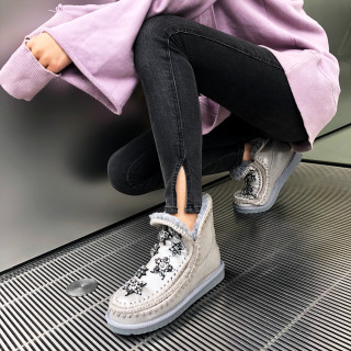 Fashion women's shoes in winter 2019 add wool upset snow boots crystal rhinestone grey big size sweet comfortable concise