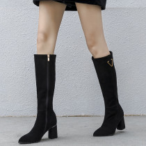 Fashion women's shoes in winter 2019 pointed toe knee high boots zipper chunky heels sexy elegant ladies boots concise mature
