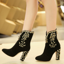 Fashion women's shoes winter 2019 zipper crystal flower chunky heels 9cm pointed toe chunky heels sexy elegant embroidery boots