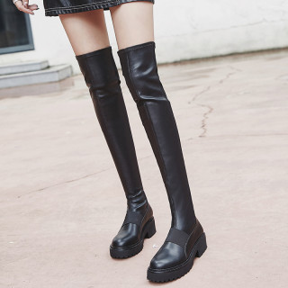 Fashion women's shoes in winter 2019 slip-on waterproof over the knee high boots sexy concise mature pure color big size black