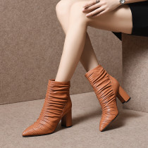 Fashion women's shoes in winter 2019 pointed toe chunky heels short boots zipper concise mature pleated classics brown leather