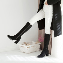 Fashion women's shoes in winter 2019 chunky heels zipper knee high boots sexy elegant ladies boots concise mature office lady