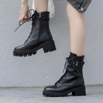 Fashion women's shoes in winter 2019 cross lacing ladies boots concise mature buckle matin boots black leather big size classics