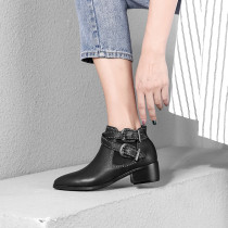 Fashion women's shoes winter 2019 pointed toe buckle matin boots genuine leather short boots black leather big size ankle boots