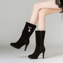 Fashion women's shoes in winter 2019 zipper stilettos heels women's boots sexy elegant ladies boots concise mature office lady