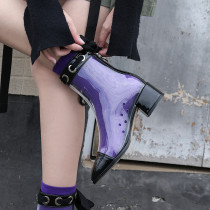 Summer 2019 fashion trend women's shoes pointed toe short boots zipper PVC women's boots transparent leisure butterfly-knot