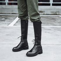 2019 winter autumn flat genuine leather knee high boots buckle cross lacing zwarm velvet lining ipper round toe fashion women's boots ladies 34 43