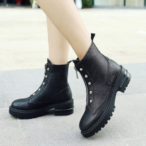2019 spring autumn round toe casual zipper woman shoes ladies flat fashion ankle boots new black comfortable leather leisure