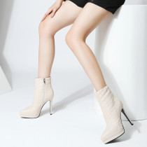 2019 autumn winter zipper party shoes concise ladies zipper pointed toe ankle platform embroidery beige sexy elegant mature