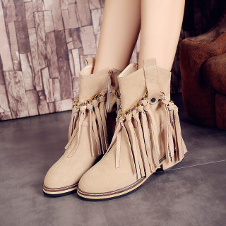 Fashion women's shoes in winter 2019 zipper round toe apricot women's boots short boots fringed pure color concise mature