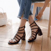 new 2019 summer sexy high heels 7cm party shoes for woman zipper ankle strap apricot black sandals narrow band chunky heels