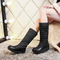 Fashion round toe down women's shoes in winter 2019 beige leisure pentagram flange black knee high boots flat ladies big yard 44