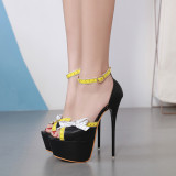 Summer Fashion  Women's shoes buckle sandals peep toe stilettos heels  Extreme heels sandals 40