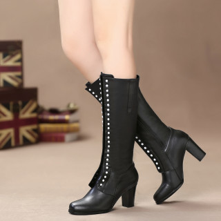 Fashion women's shoes winter 2019 round toe hunky heels 7cm knee high boots small yard 31 big yard 45 rivets fashion boots genuine leather shoes ladies