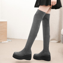 Fashion women's shoes in winter 2019 round toe women's boots over the knee high boots zipper concise mature black comfortable