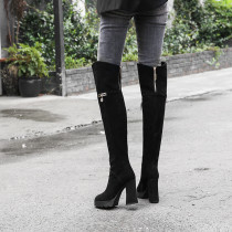 Fashion metal decoration platform over the knee high boots in winter 2019 zipper chunky heels round toe classics black matte genuine suede boots women's shoes