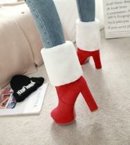 Fashion women's shoes in winter 2019 pointed toe chunky heels slip-on women's boots knee high boots red waterproof