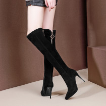 Fashion sexy elegant ladies boots mature office lady women's shoes in winter 2019 metal decoration over the knee high boots