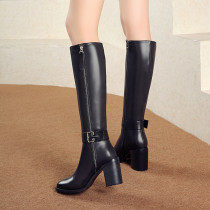 Fashion women's shoes in winter 2019 pointed toe chunky heels zipper sexy elegant ladies boots knee high boots black leather