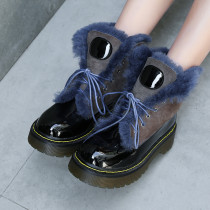 Fashion women's shoes winter 2019 black cross lacing round toe platform ankle boots personality comfortable snow boots with wool