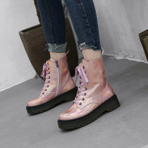 Fashion silver women's shoes winter 2019 comfortable cross tied round toe women's boots matin boots pink silver ankle boots 40