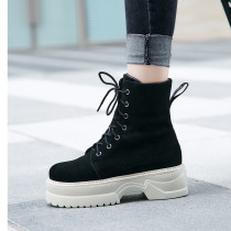 Fashion women's shoes in winter 2019 round toe women's boots matin boots cross lacing short boots elegant concise mature