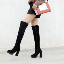 Fashion women's shoes winter 2019 pointed toe chunky heels 10cm over the knee high boots platform ladies boots 40