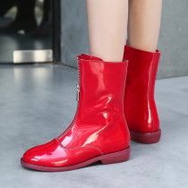 Fashion sexy elegant ladies boots concise women's shoes winter 2019 zipper round toe shiny red black Front zipper short boots 40