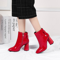 Fashion women's shoes autumn 2019 pointed toe chunky heels zipper short boots bowknot butterfly knot red black ankle boots 40 41