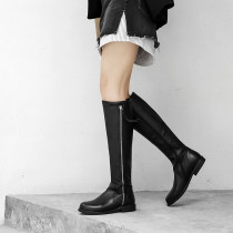 Fashion elegant ladies boots concise mature women's shoes in winter 2019 round toe zipper knee high boots black leather