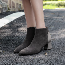 Fashion women's shoes in winter 2019 pointed toe chunky heels black elegant ladies boots concise mature zipper short boots