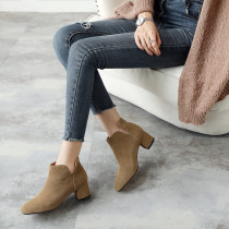 Fashion women's shoes in winter 2019 chunky heels pointed toe khaki women's boots short boots slip-on big yard 41 small yard 33 pure color