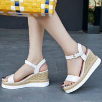 Summer pure color 2019 fashion trend women's shoes elegant buckle sandals yellow white leather concise sweet narrow band